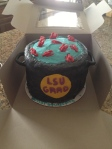 6-layer, 10-inch round, crawfish boil/graduation cake!